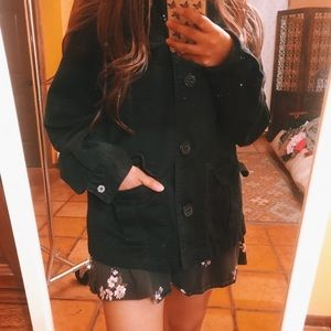 Faded Black Trench Style Jacket Coat